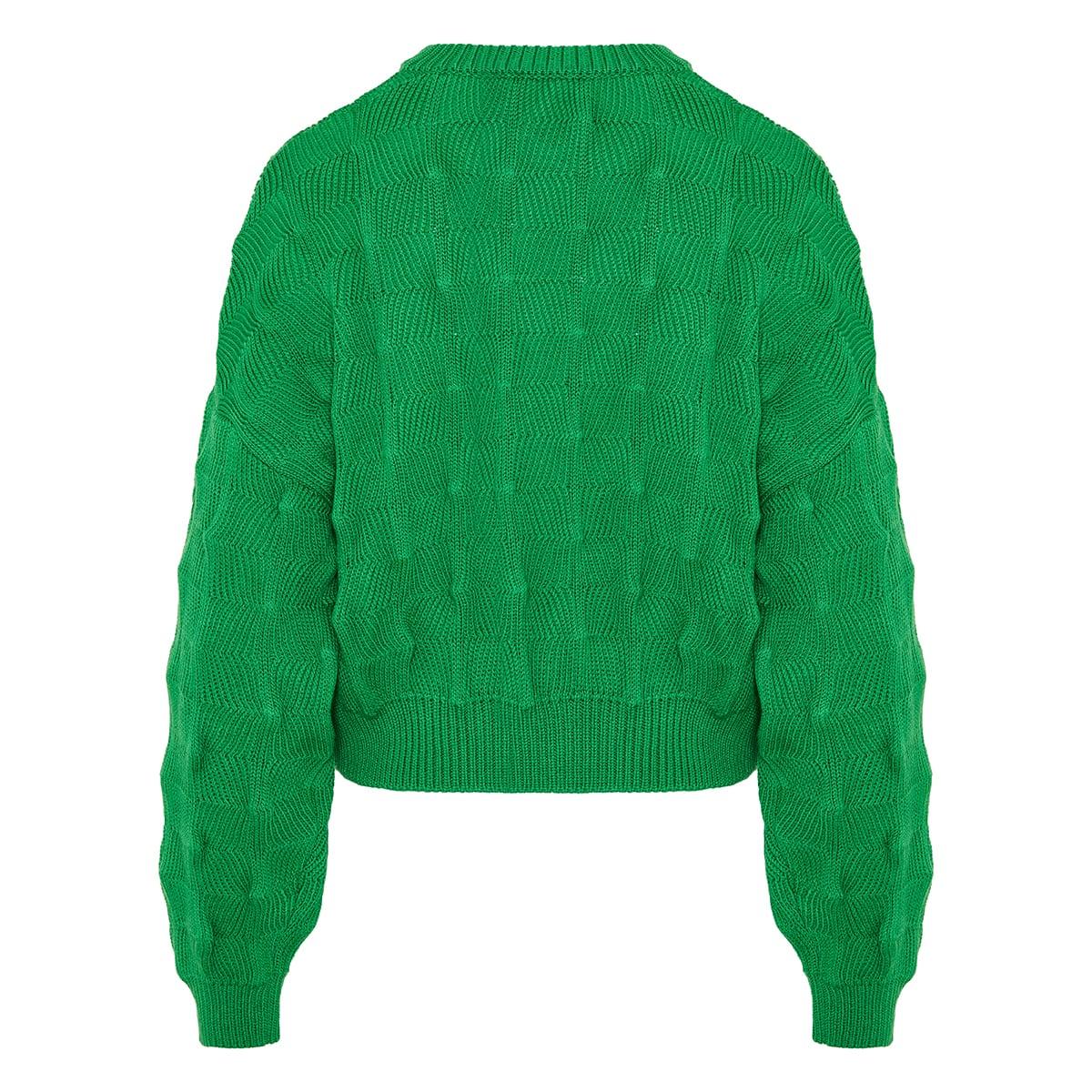 Popcorn cropped wool sweater