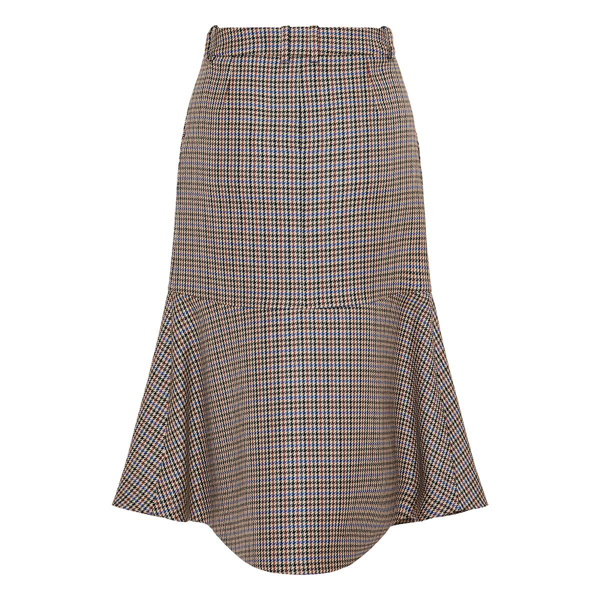 Naomi houndstooth flared midi skirt
