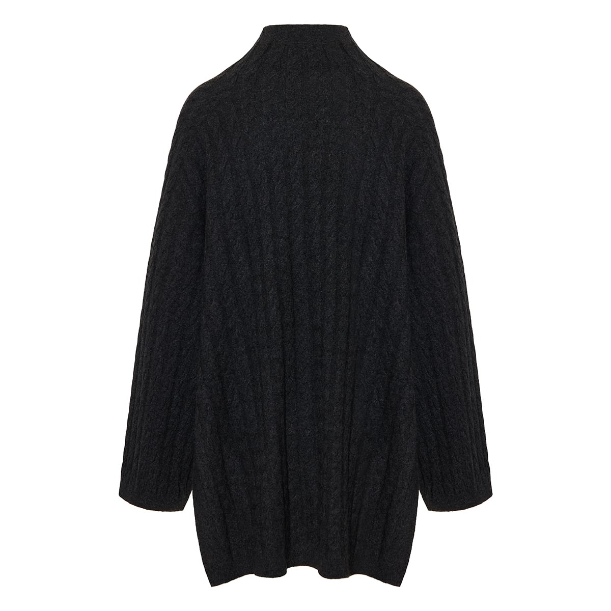 Long cable-knit cashmere sweater
