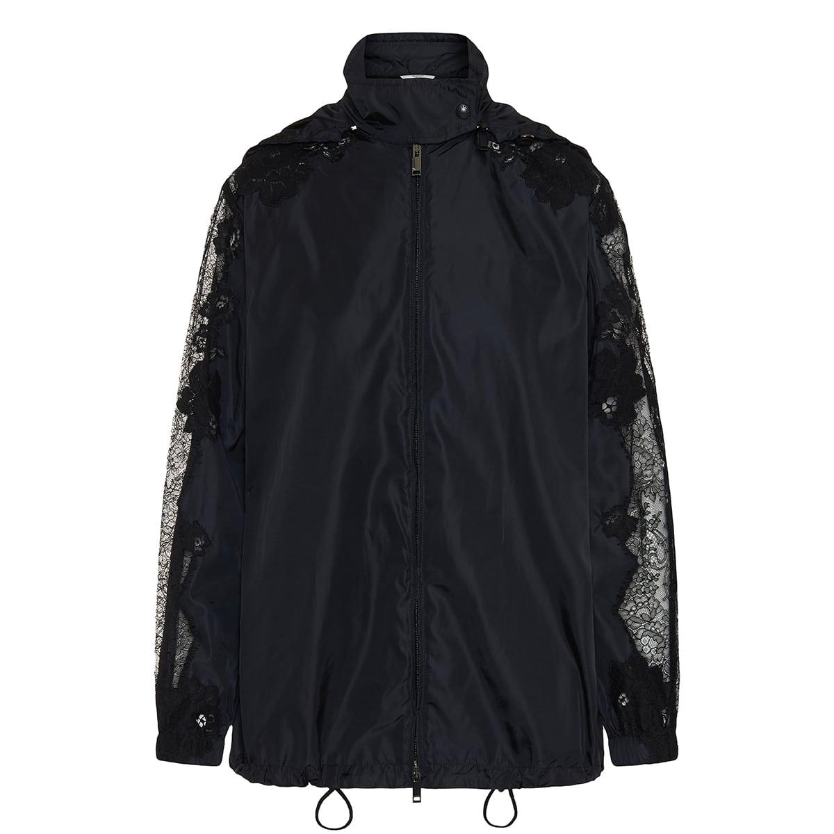 Lace-paneled nylon jacket