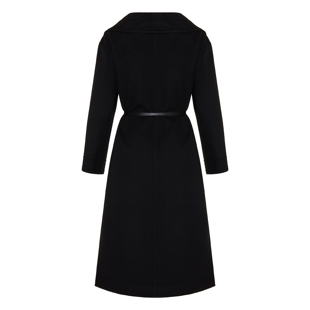 Wool coat with leather ties