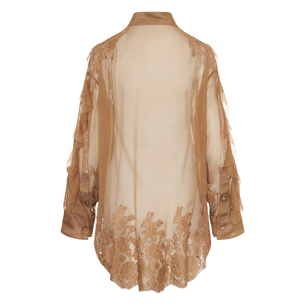 Lace-paneled ruffled chiffon shirt