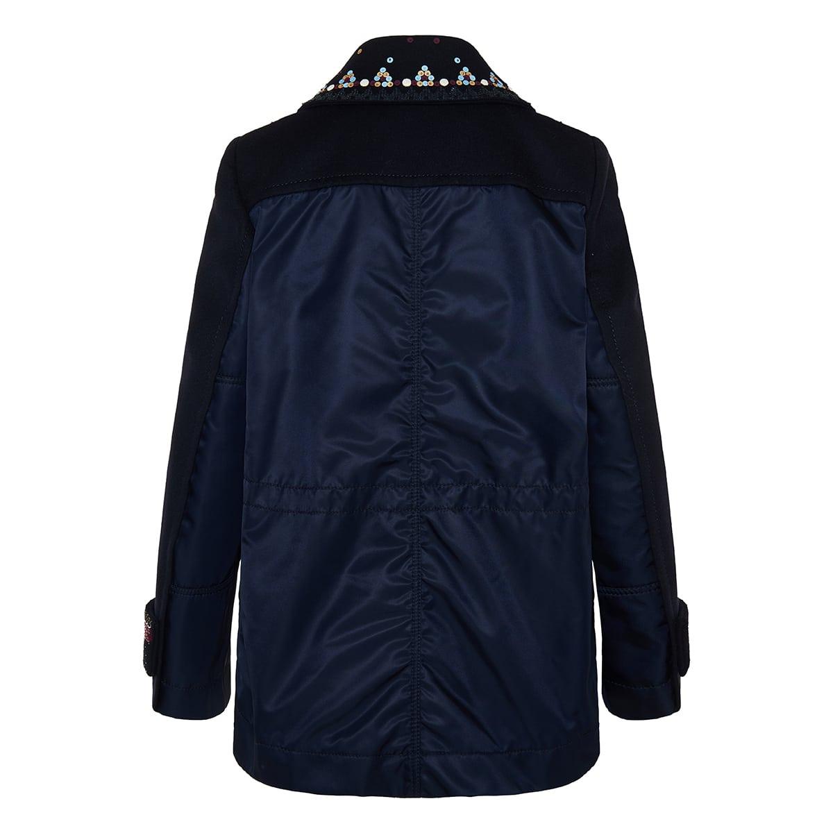 Nylon-paneled embellished wool pea coat