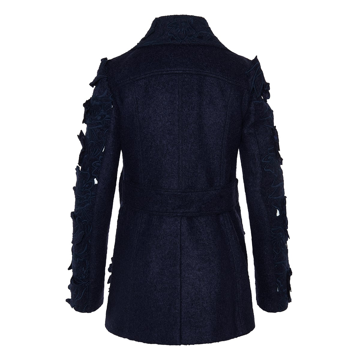 Felt pea coat with floral embroidery