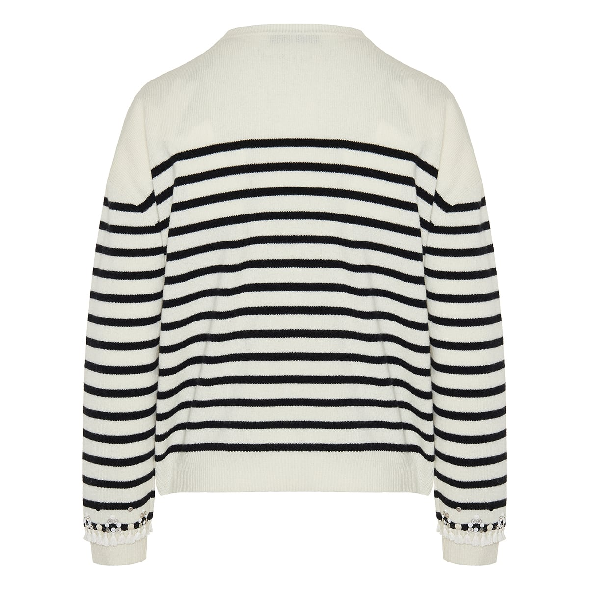 Embellished logo striped sweater