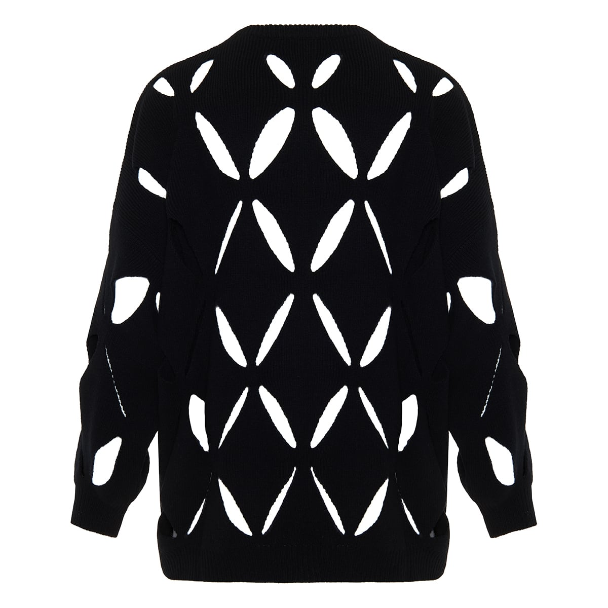 Oversized sweater with cutout embroidery
