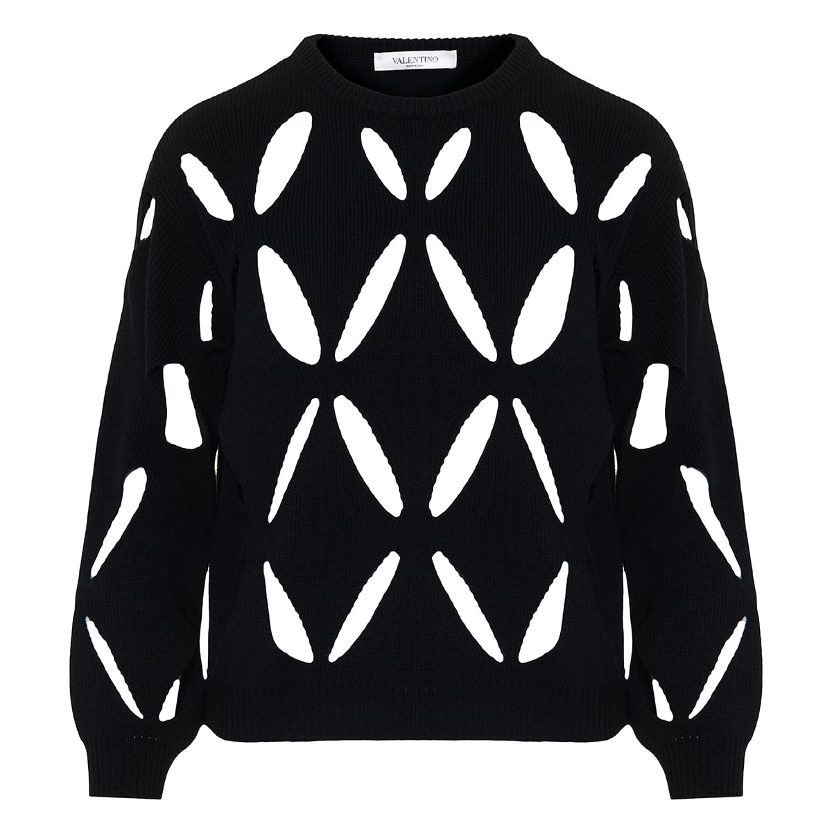 Wool sweater with cutout embroidery