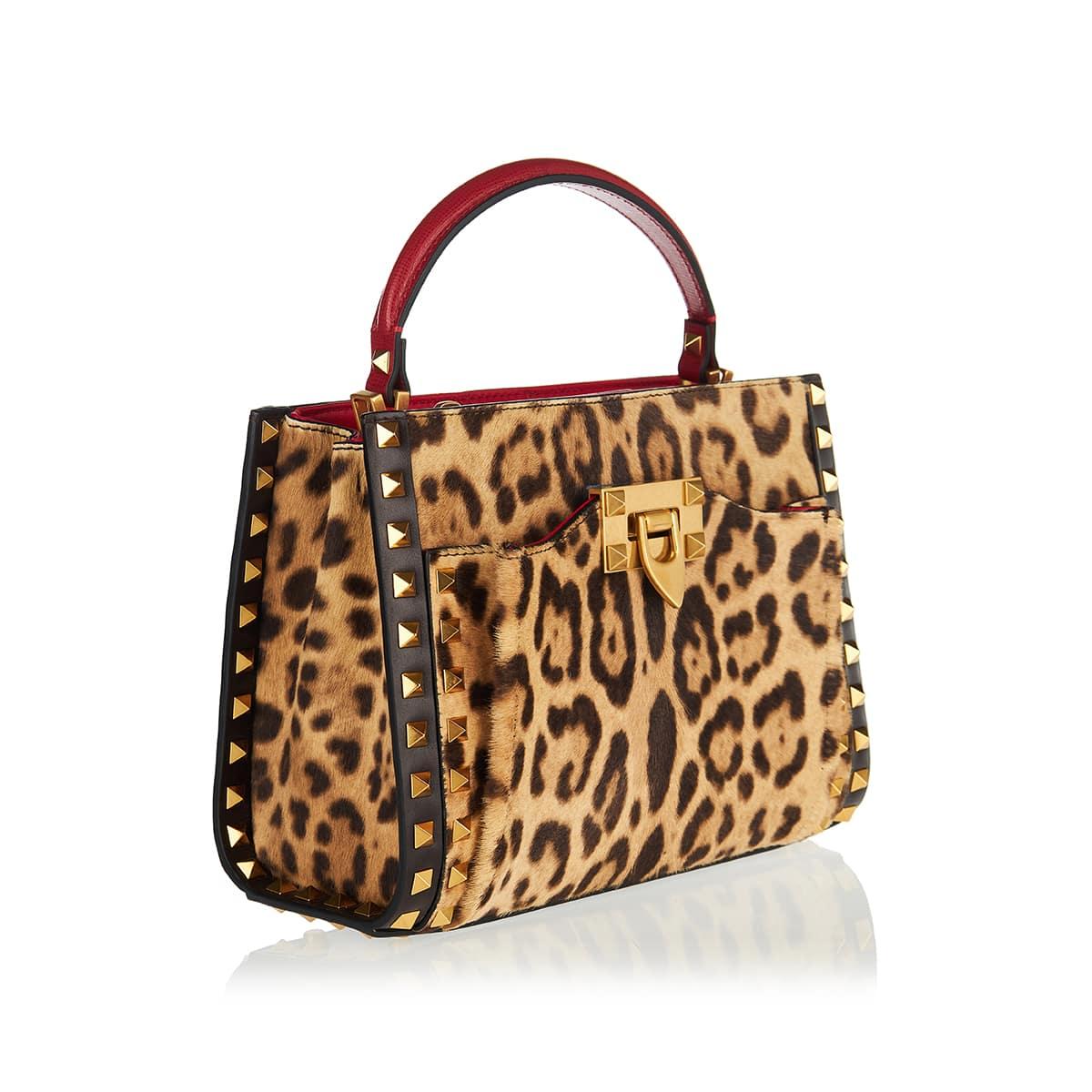 Rockstud Alcove small leopard calf-hair tote