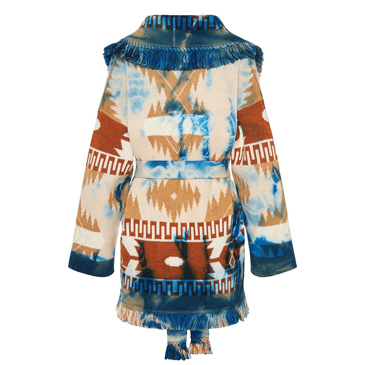 Puertos Natales tie-dye jacquard wool cardigan