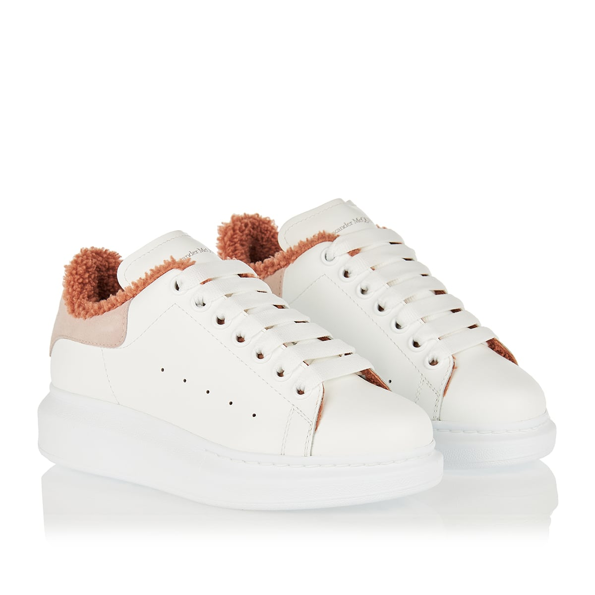 Leather and shearling sneakers