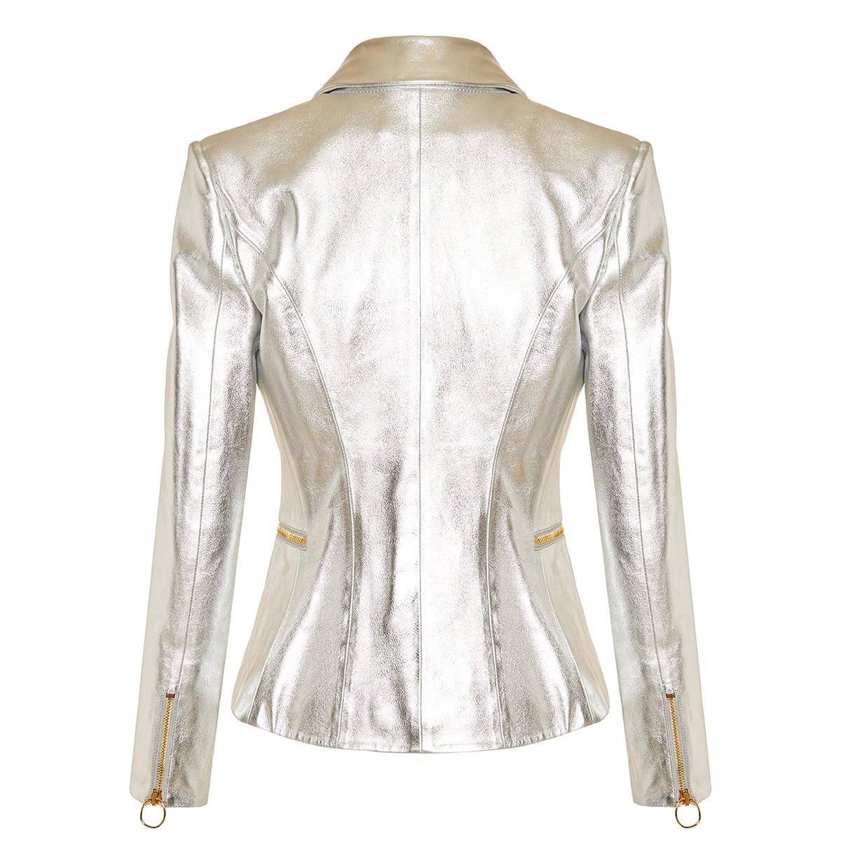 Double-breasted metallic leather blazer