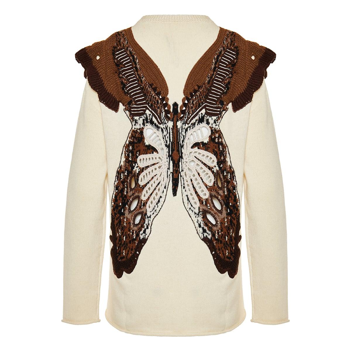 Crochet butterfly wool-cashmere sweater
