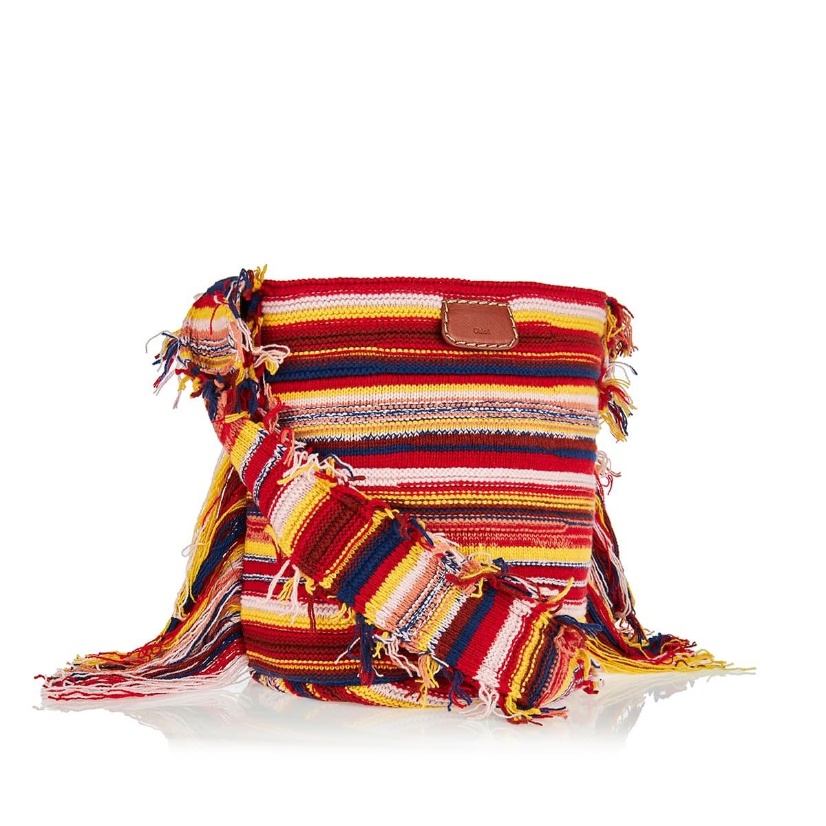 Jorge striped cashmere-knit bucket bag