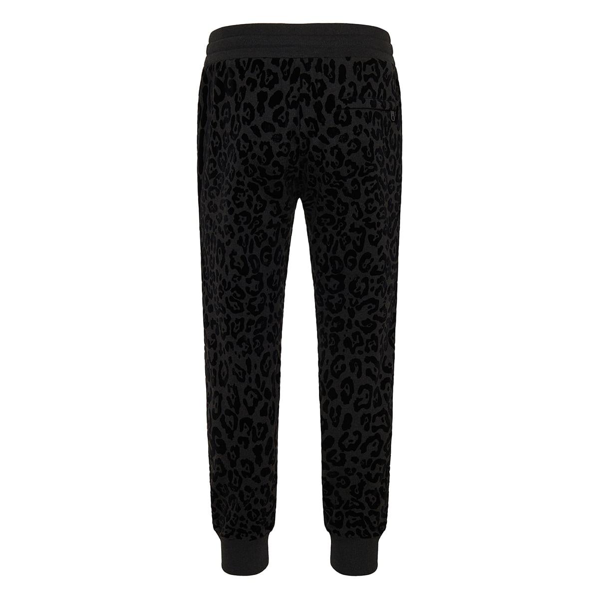 Leopard cotton track trousers