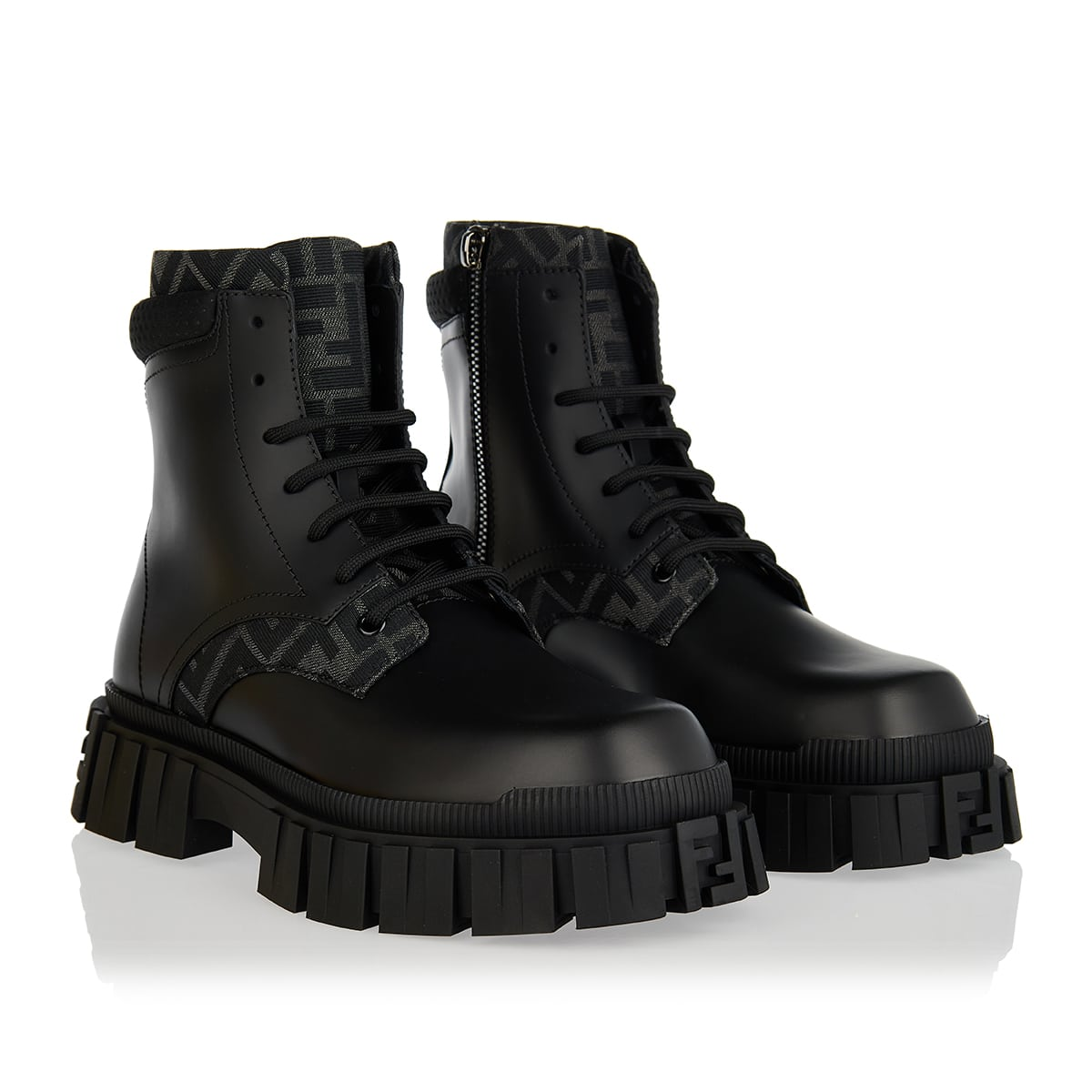 Fendi Force leather combat boots