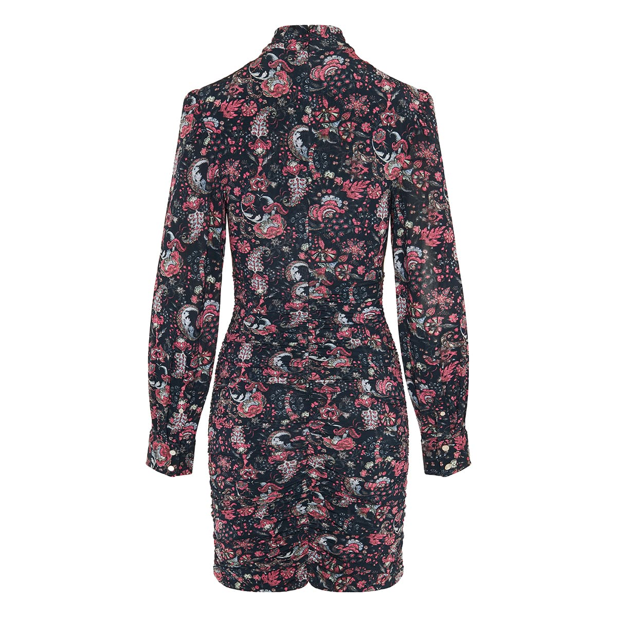 Linaziki paisley ruched mini dress