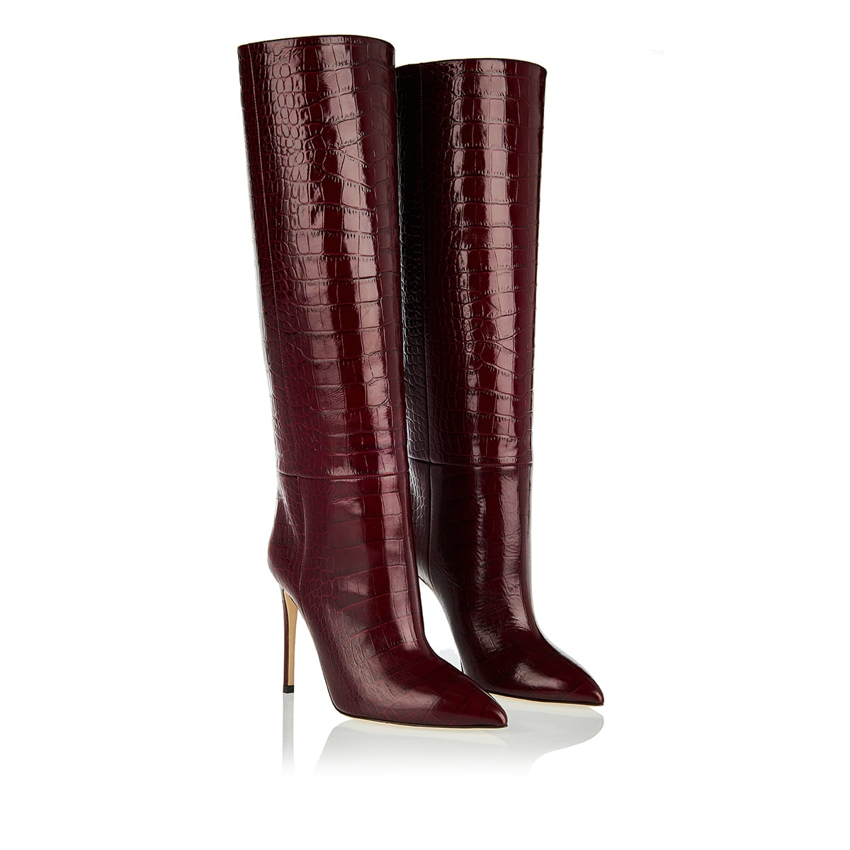 Croc-effect knee-high leather boots