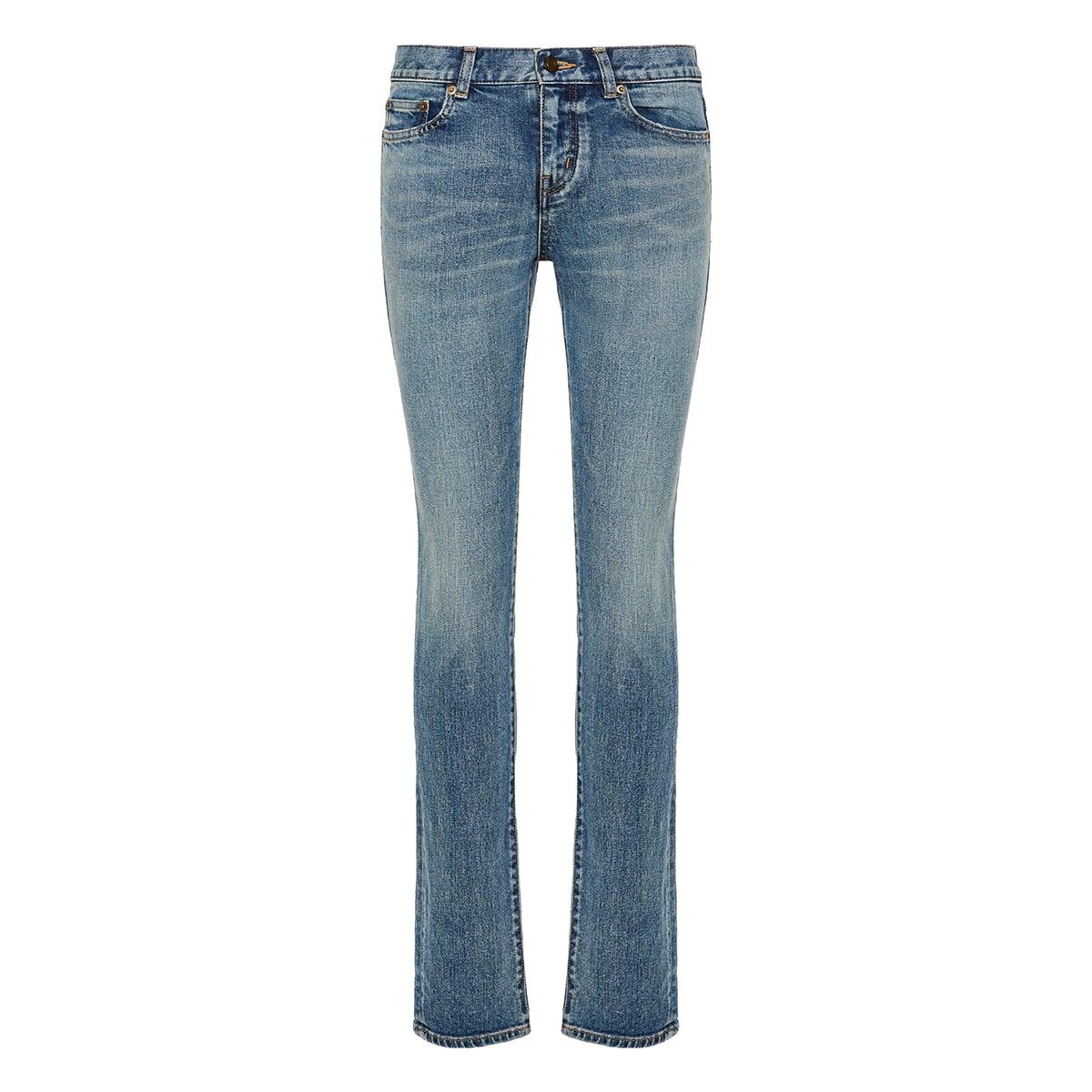 Low-waist distressed jeans