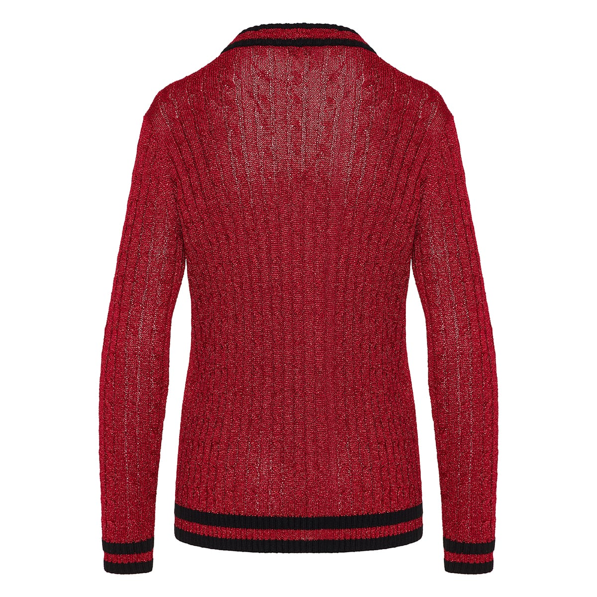 Cable-knit lurex cardigan