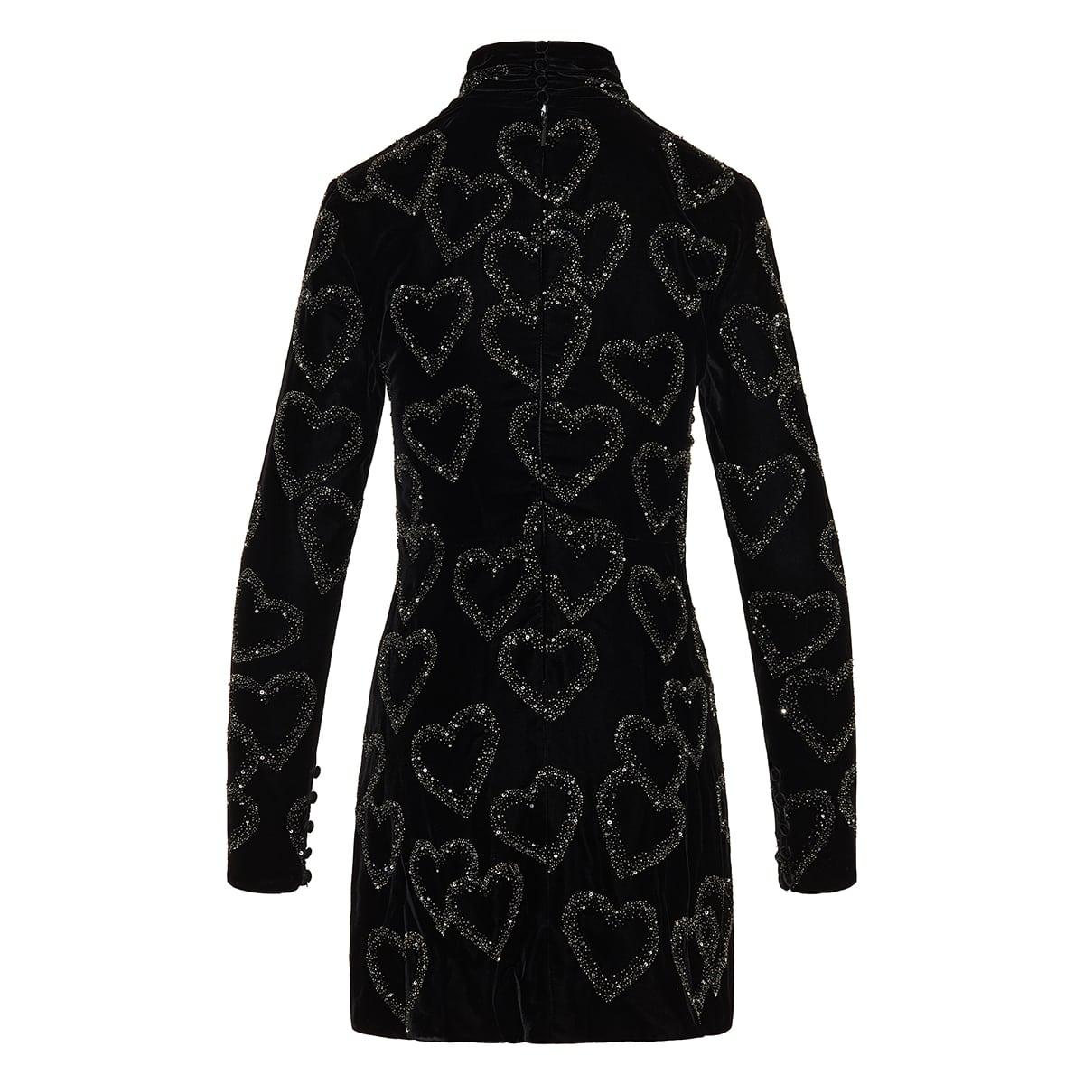 Hearts embellished mini dress