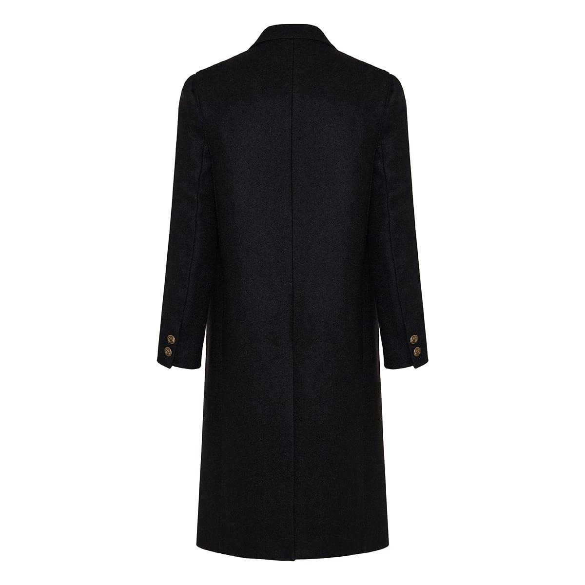 Double-breasted wool felt coat