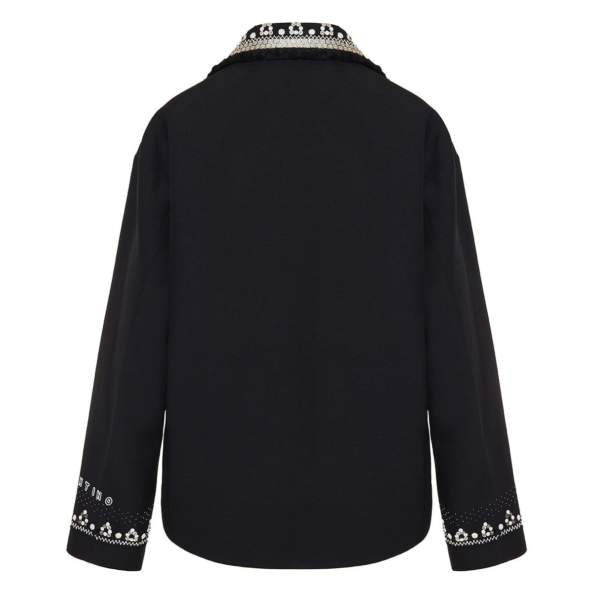 Embellished wool-silk jacket