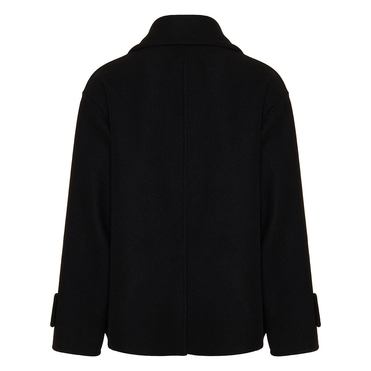 Oversized short wool pea coat
